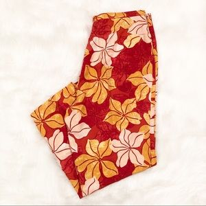 Tommy Bahama orange/red tropical floral capris 10